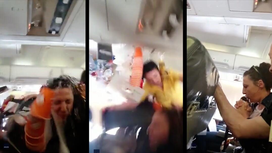 Dramatyczne nagranie ze środka samolotu podczas turbulencji.