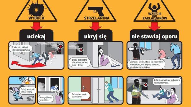 Plakat ratusza z zasadami bezpieczństwa mat. pras.