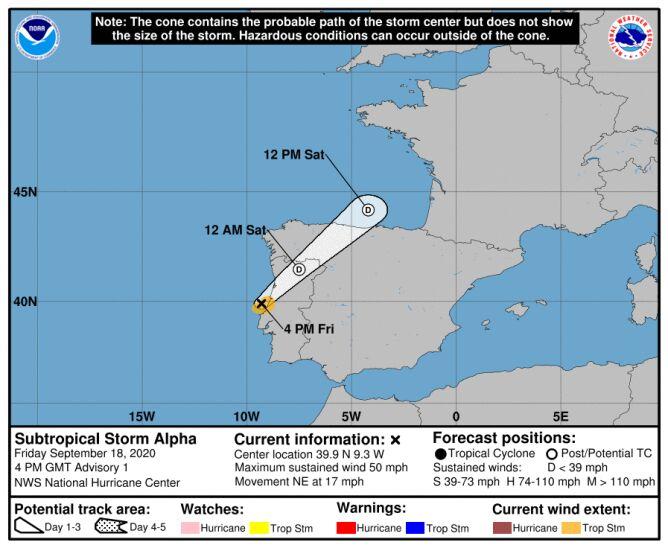 Prognozowana trasa burzy Alpha (NOAA, NHC)
