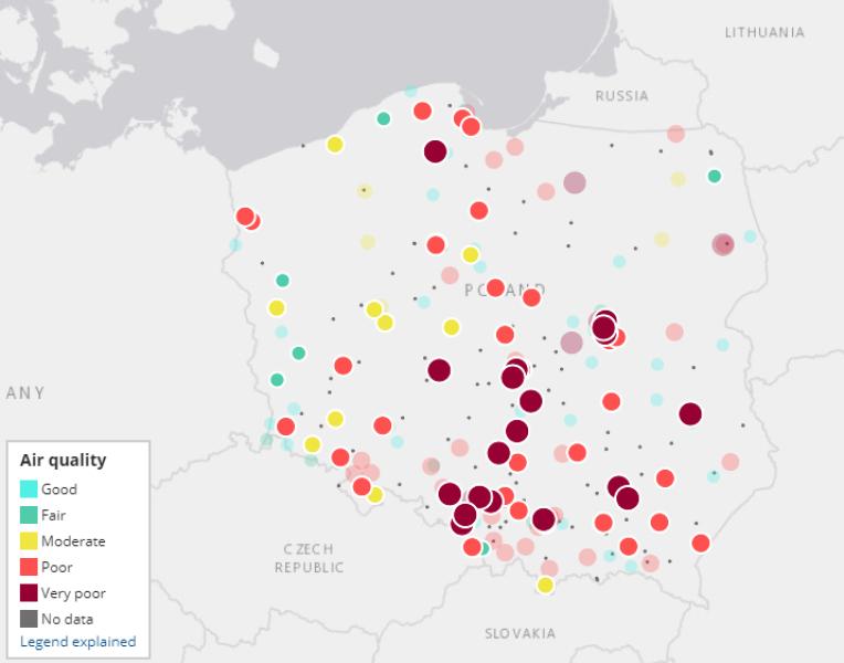 Jakość powietrza w Polsce w godzinach 15-21 w piątek (European Air Quality Index)