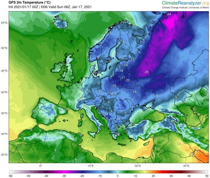 Temperatura w Europie 17 stycznia w godzinach porannych (climatereanalyzer.org)