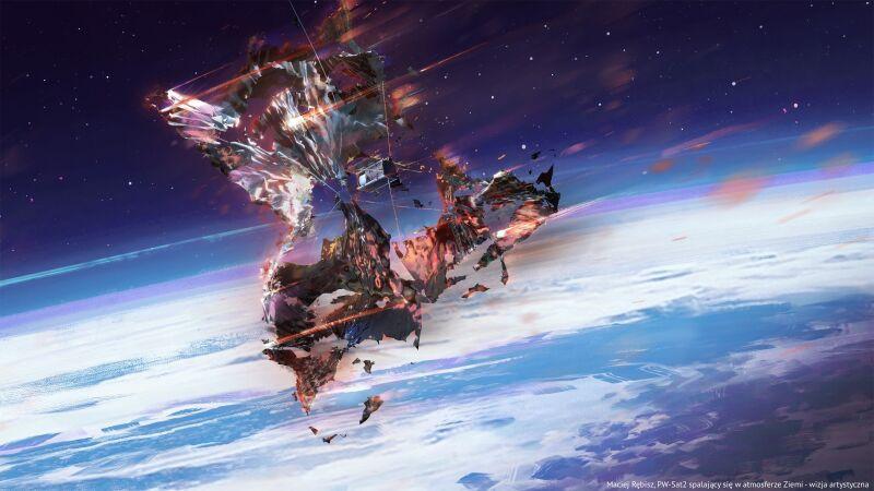 PW-Sat2 spalający się w atmosferze Ziemi - wizja artystyczna (Maciej Rębisz/PW-Sat2)