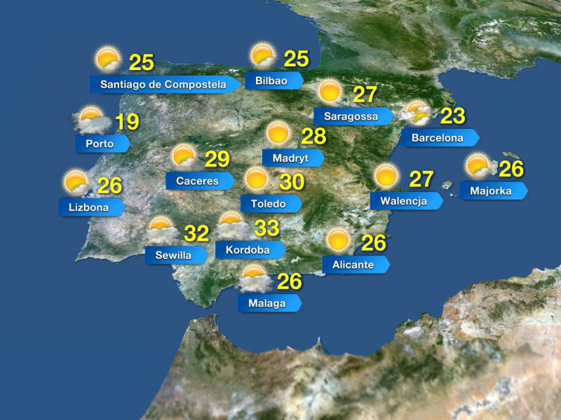 Temperatura w Hiszpanii w czwartek