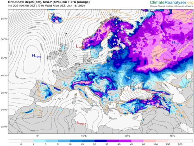 Pokrywa śnieżna do 18 stycznia (ClimateReanalyzer.org)