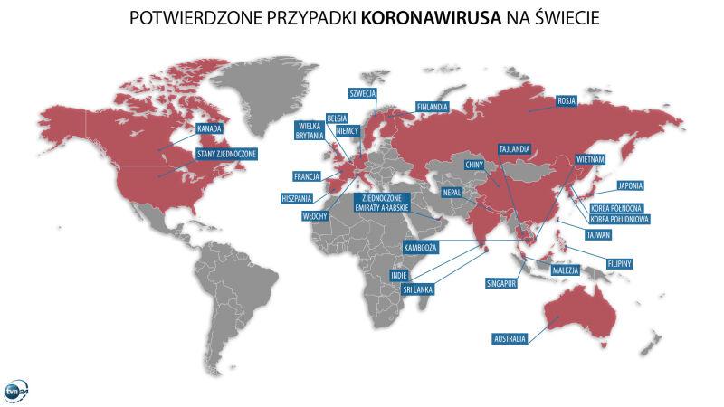 Potwierdzone przypadki koronawirusa na świecie (tvnmeteo.pl)
